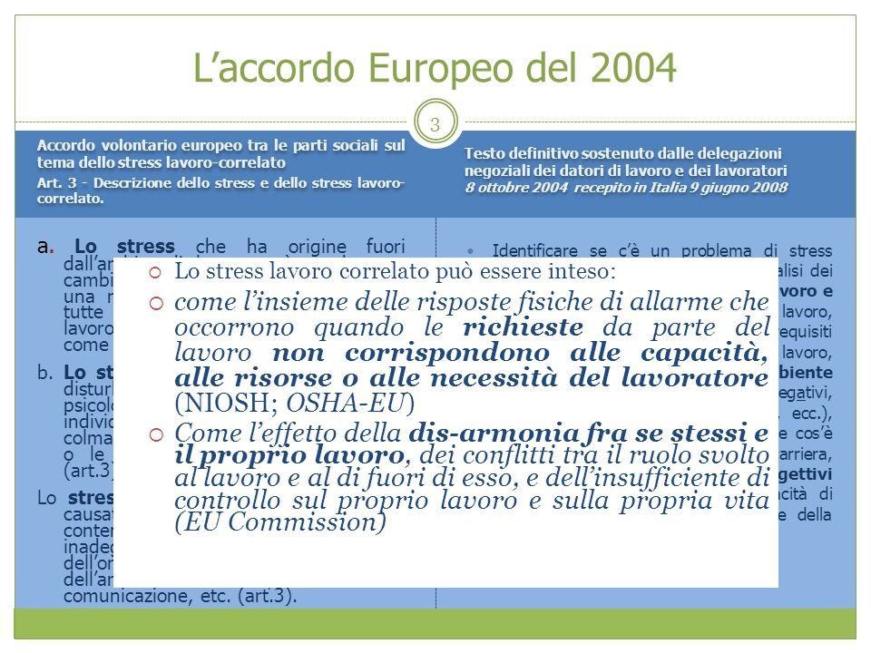 L'accordo Europeo del 2004 Testo definitivo sostenuto dalle delegazioni negoziali dei datori di lavoro e dei lavoratori.