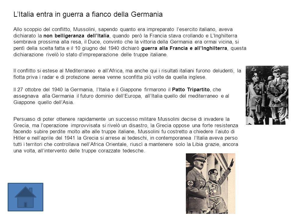 L'Italia entra in guerra a fianco della Germania