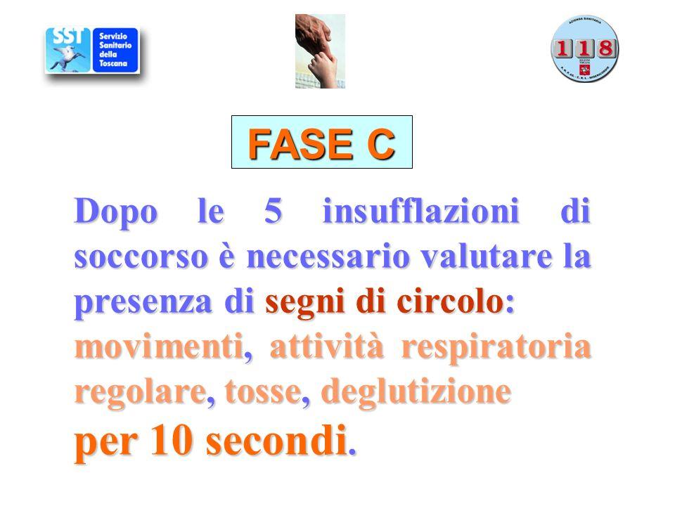 FASE C Dopo le 5 insufflazioni di soccorso è necessario valutare la presenza di segni di circolo: