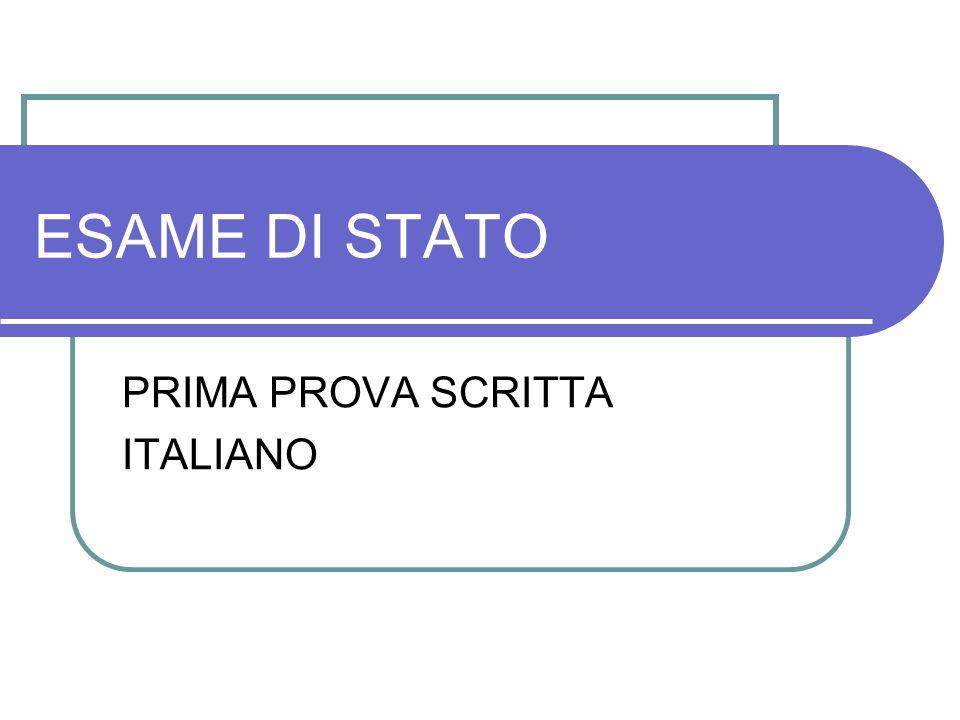 PRIMA PROVA SCRITTA ITALIANO