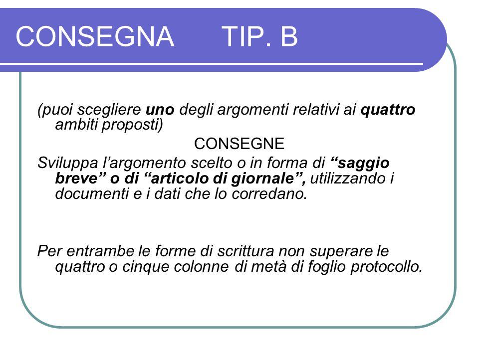 CONSEGNA TIP. B (puoi scegliere uno degli argomenti relativi ai quattro ambiti proposti) CONSEGNE.