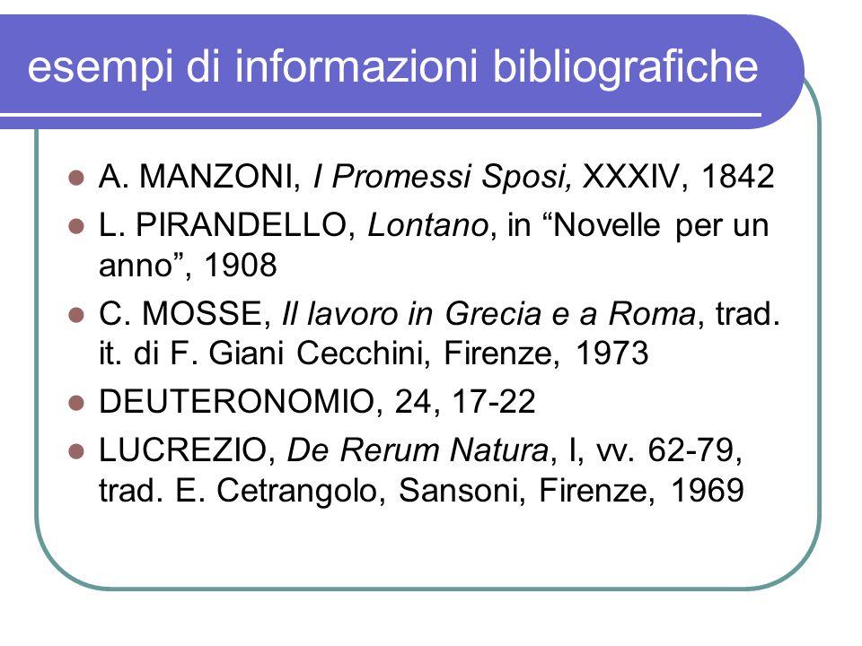esempi di informazioni bibliografiche