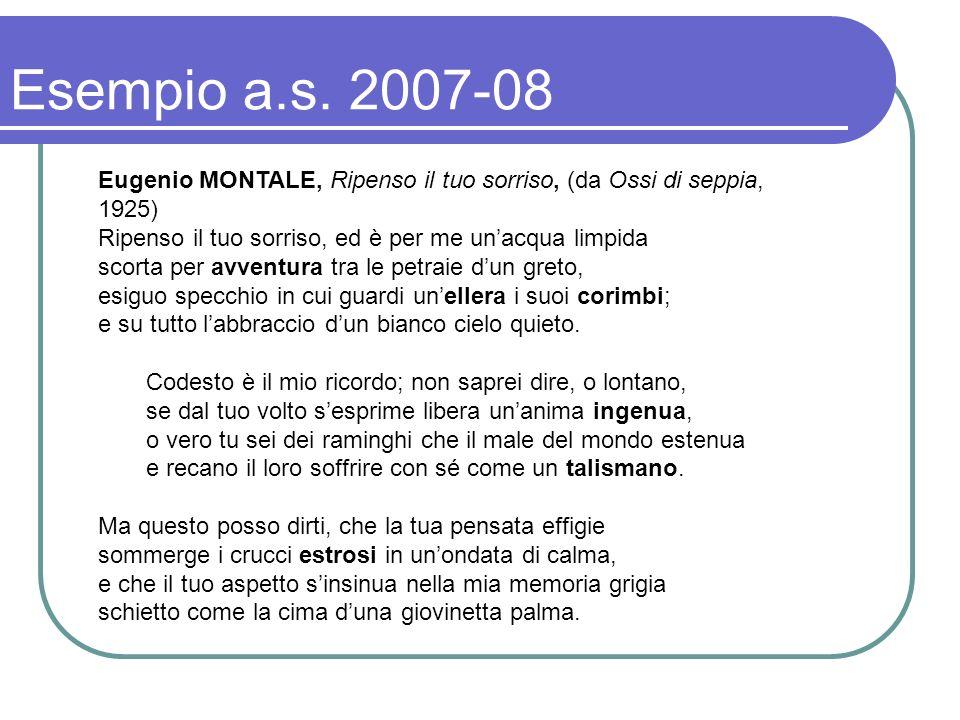 Esempio a.s. 2007-08 Eugenio MONTALE, Ripenso il tuo sorriso, (da Ossi di seppia, 1925) Ripenso il tuo sorriso, ed è per me un'acqua limpida.