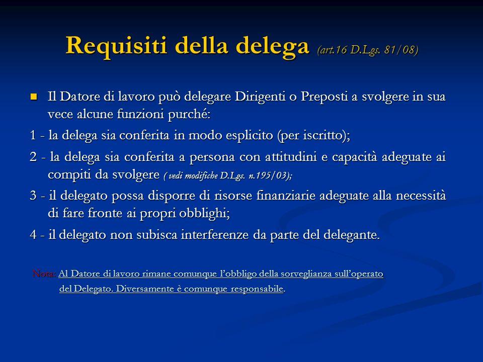 Requisiti della delega (art.16 D.Lgs. 81/08)