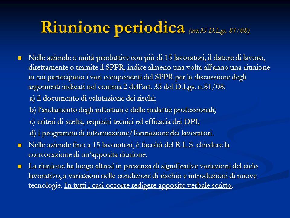 Riunione periodica (art.35 D.Lgs. 81/08)