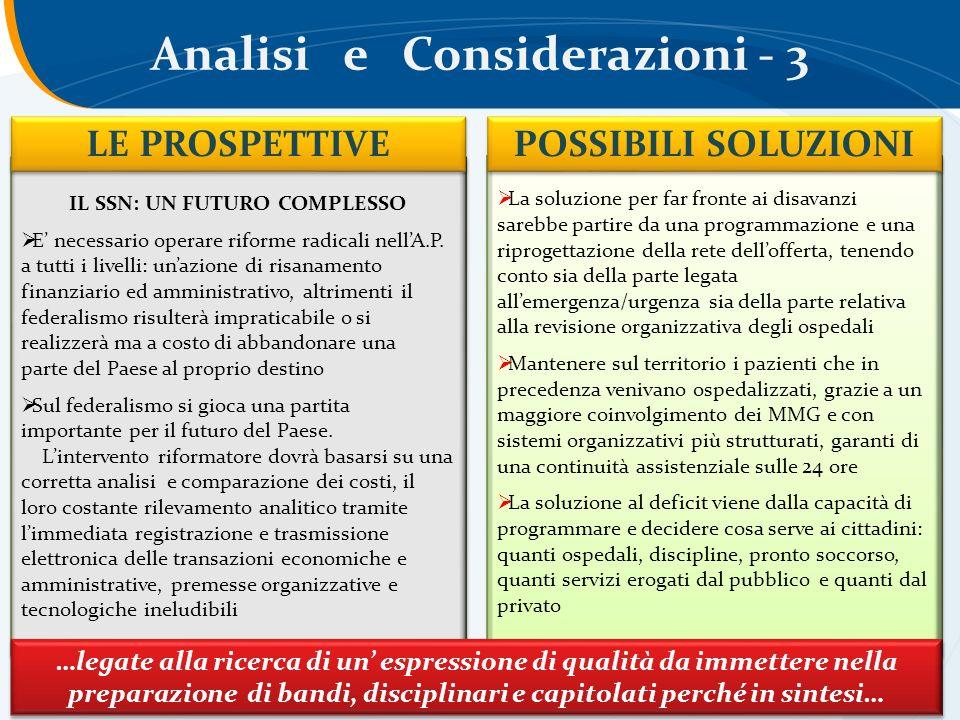 Analisi e Considerazioni - 3 IL SSN: UN FUTURO COMPLESSO