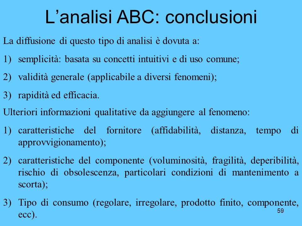 L'analisi ABC: conclusioni