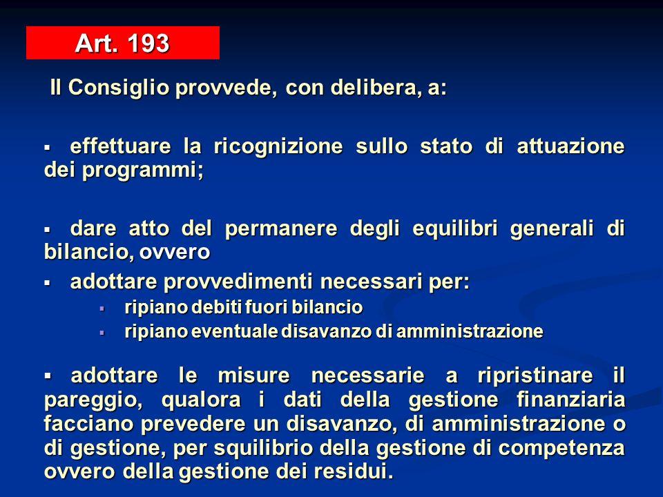Art. 193Il Consiglio provvede, con delibera, a: effettuare la ricognizione sullo stato di attuazione dei programmi;