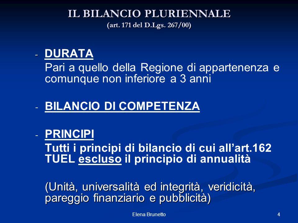 IL BILANCIO PLURIENNALE (art. 171 del D.Lgs. 267/00)
