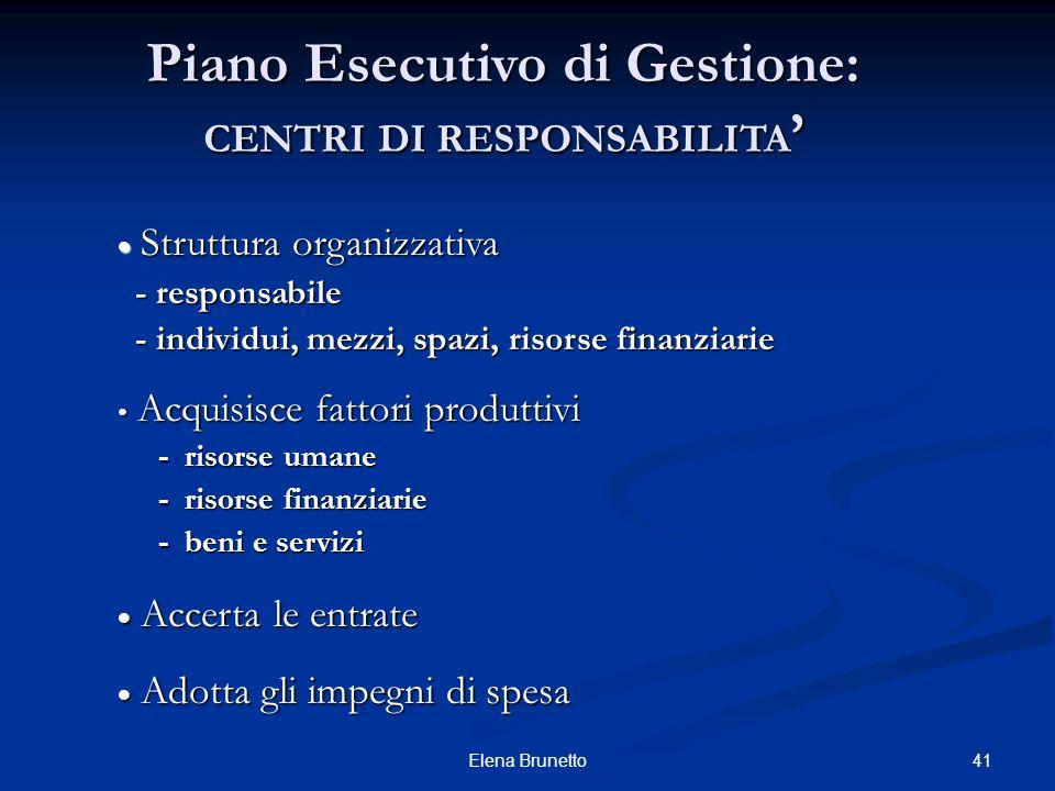 Piano Esecutivo di Gestione: CENTRI DI RESPONSABILITA'
