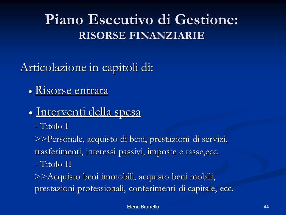 Piano Esecutivo di Gestione: RISORSE FINANZIARIE