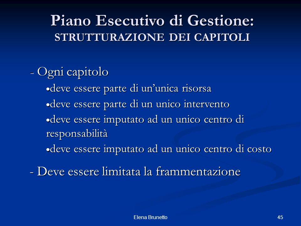 Piano Esecutivo di Gestione: STRUTTURAZIONE DEI CAPITOLI