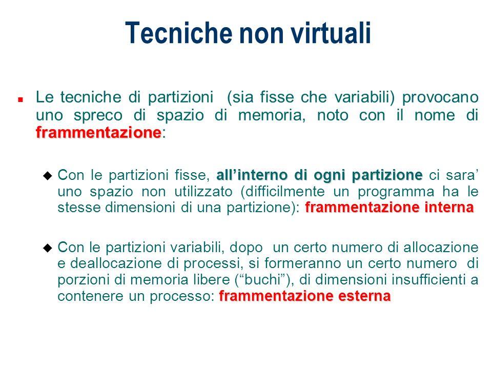 Tecniche non virtuali Suddivisione della memoria in partizioni fisse