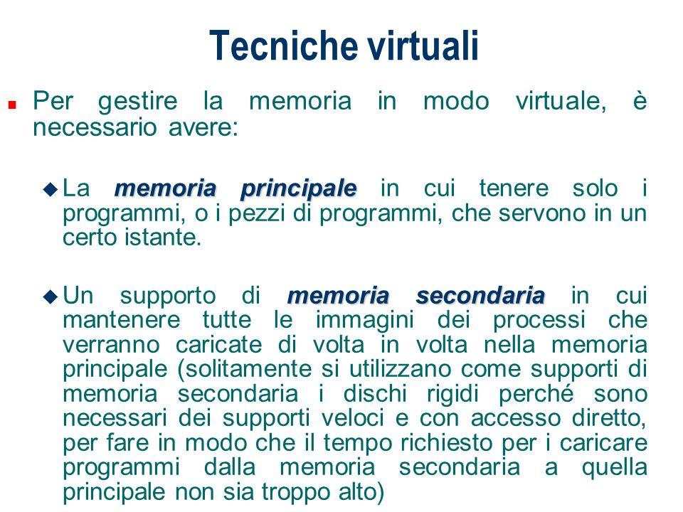 Tecniche virtuali Per eseguire un processo non è necessario caricare completamente in memoria la sua immagine.