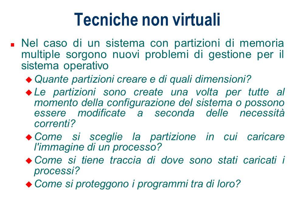 Tecniche non virtuali Veniamo ora al caso di un sistema multi-programmato in cui più programmi utente P1, P2…Pn sono eseguiti contemporaneamente.