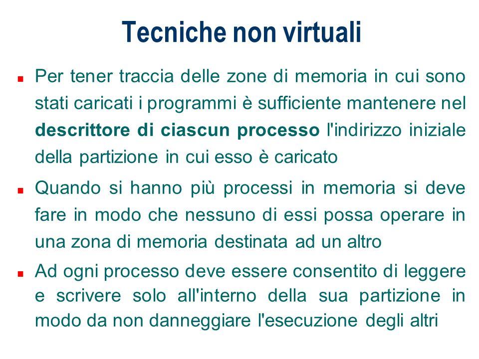 Tecniche non virtuali Nel caso di un sistema con partizioni di memoria multiple sorgono nuovi problemi di gestione per il sistema operativo.