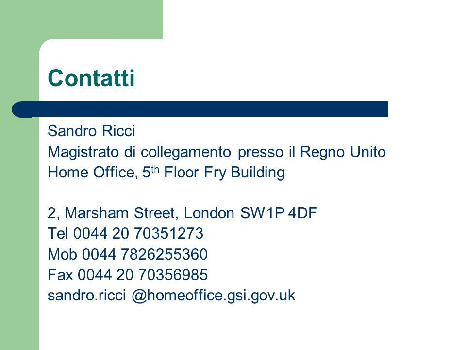 Contatti Sandro Ricci Magistrato di collegamento presso il Regno Unito