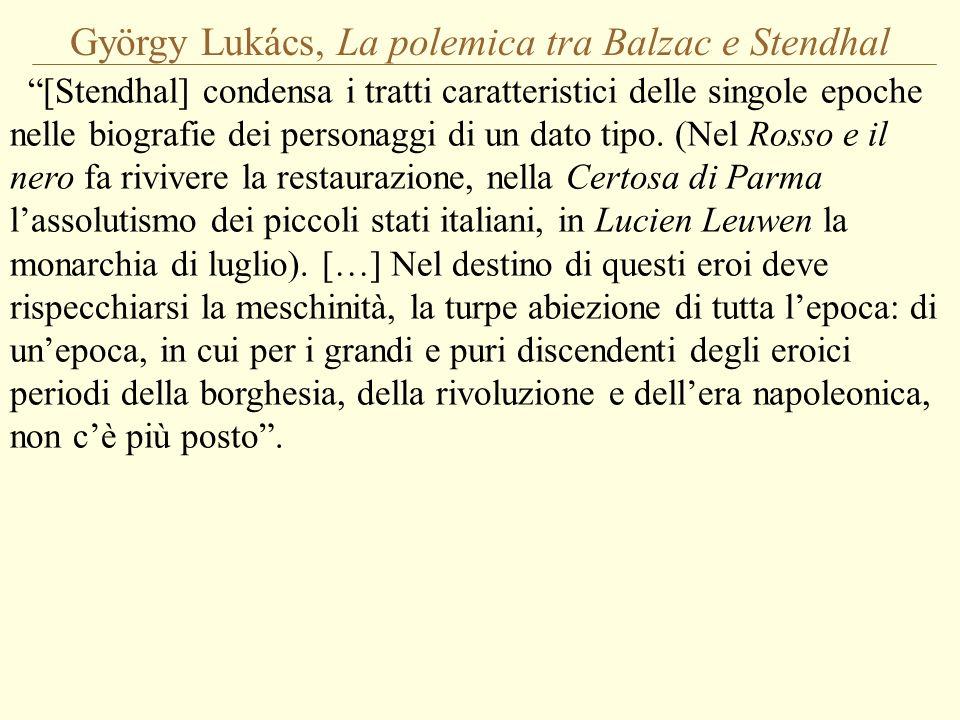 György Lukács, La polemica tra Balzac e Stendhal