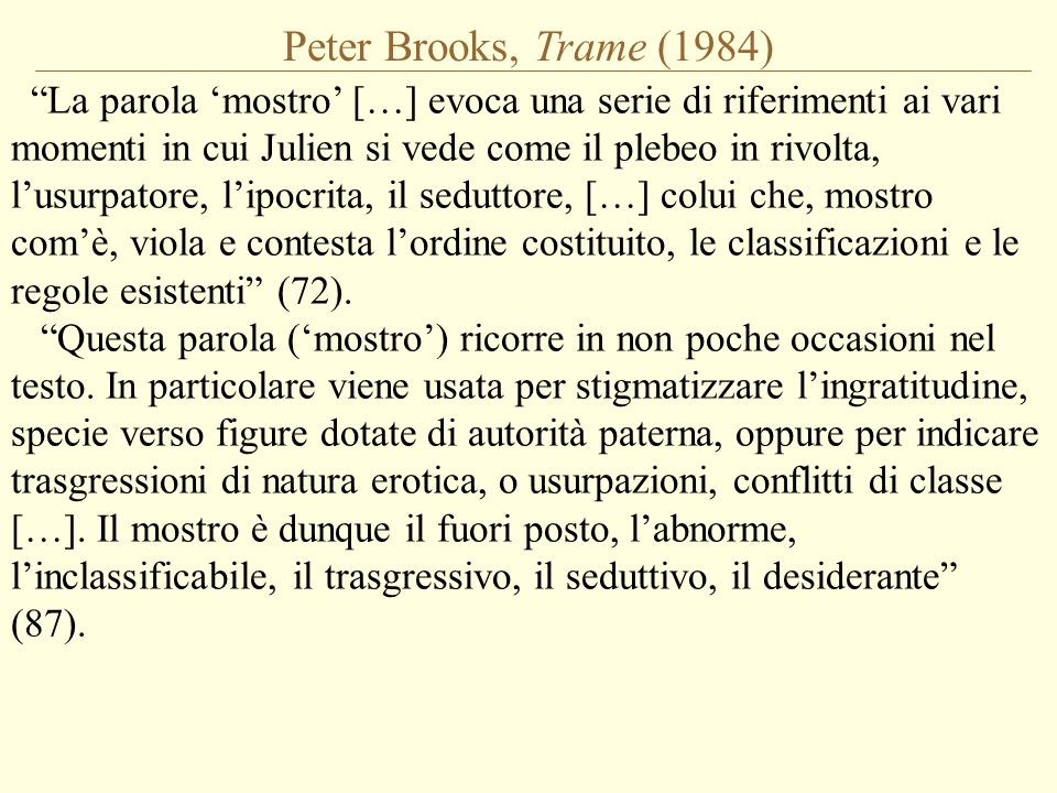Peter Brooks, Trame (1984)