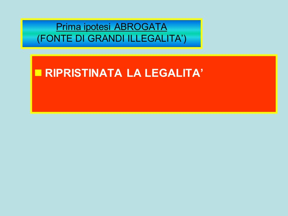 Prima ipotesi ABROGATA (FONTE DI GRANDI ILLEGALITA')