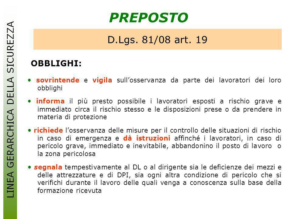 PREPOSTO D.Lgs. 81/08 art. 19 OBBLIGHI: