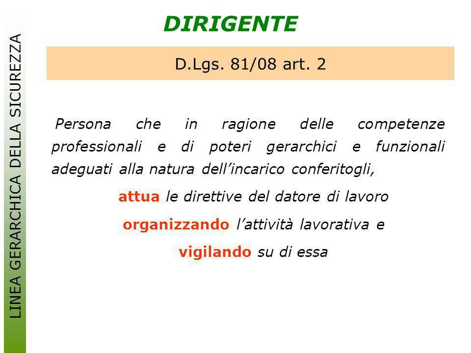 DIRIGENTE D.Lgs. 81/08 art. 2 LINEA GERARCHICA DELLA SICUREZZA