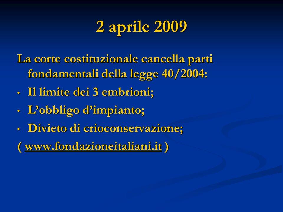 2 aprile 2009 La corte costituzionale cancella parti fondamentali della legge 40/2004: Il limite dei 3 embrioni;