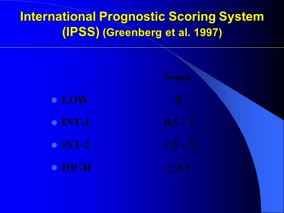 International Prognostic Scoring System (IPSS) (Greenberg et al. 1997)