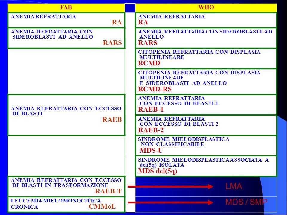 LMA MDS / SMP RARS RCMD RCMD-RS RAEB-1 RAEB-2 MDS del(5q) FAB WHO