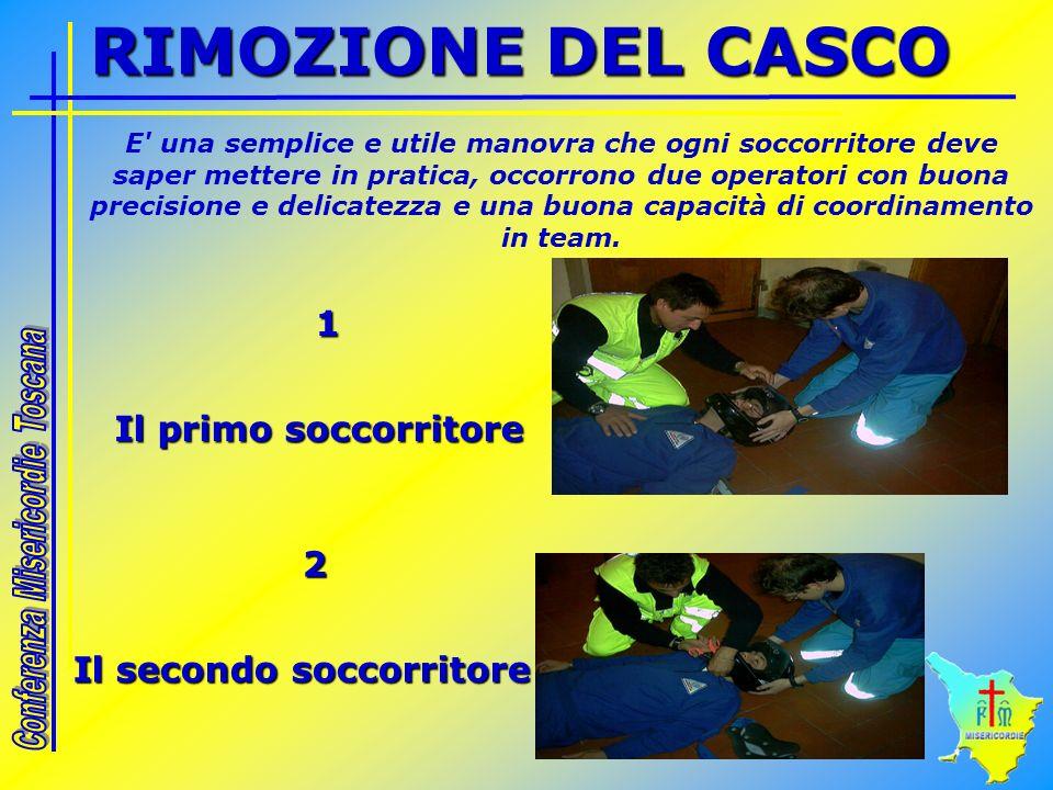 RIMOZIONE DEL CASCO 1 Il primo soccorritore 2 Il secondo soccorritore