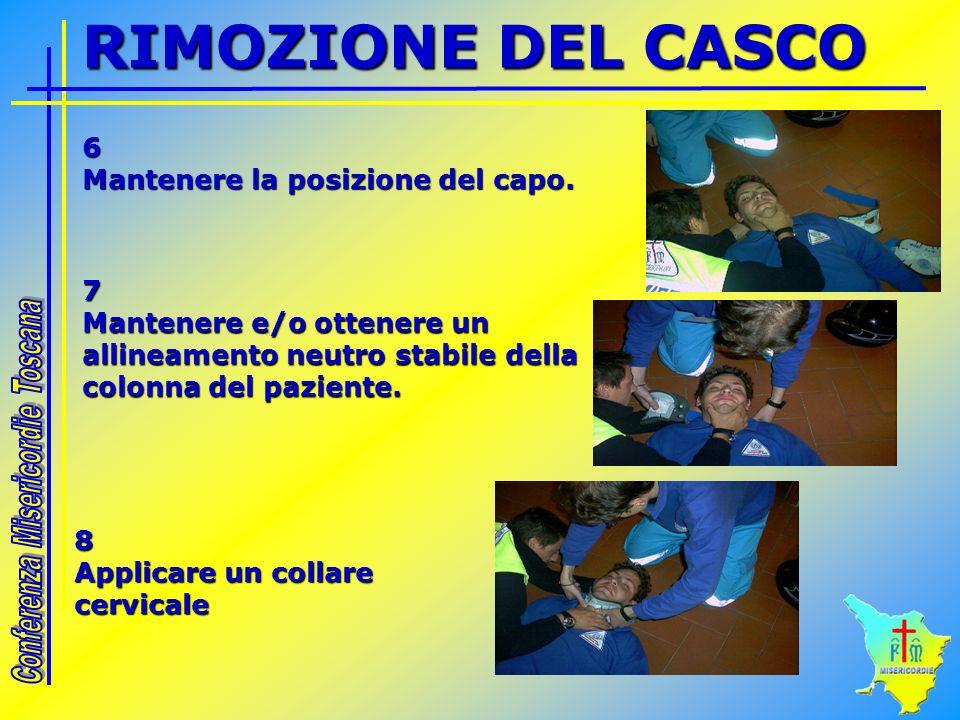 RIMOZIONE DEL CASCO 6 Mantenere la posizione del capo.