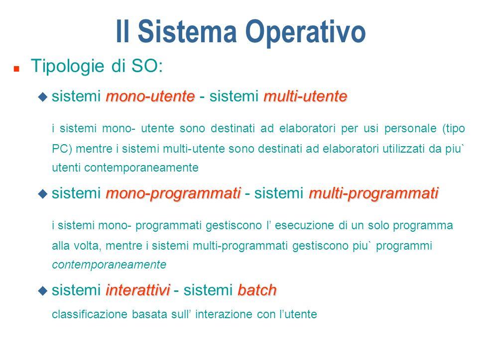 Il Sistema Operativo Tipologie di SO: