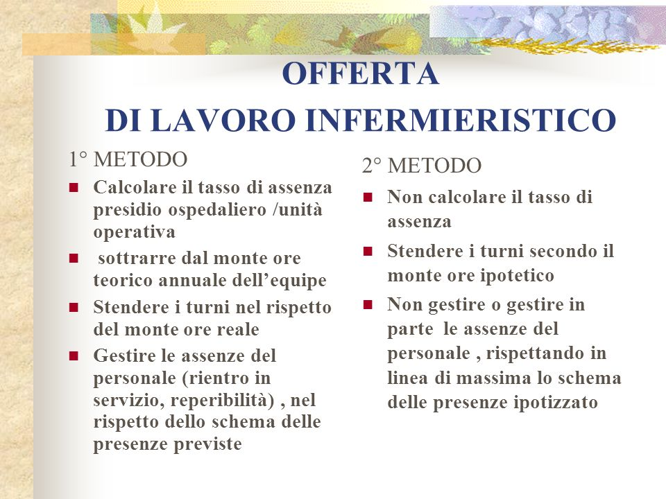 OFFERTA DI LAVORO INFERMIERISTICO