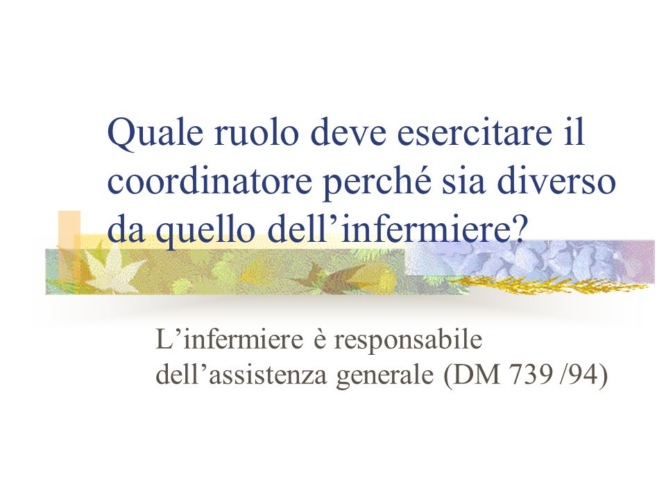L'infermiere è responsabile dell'assistenza generale (DM 739 /94)