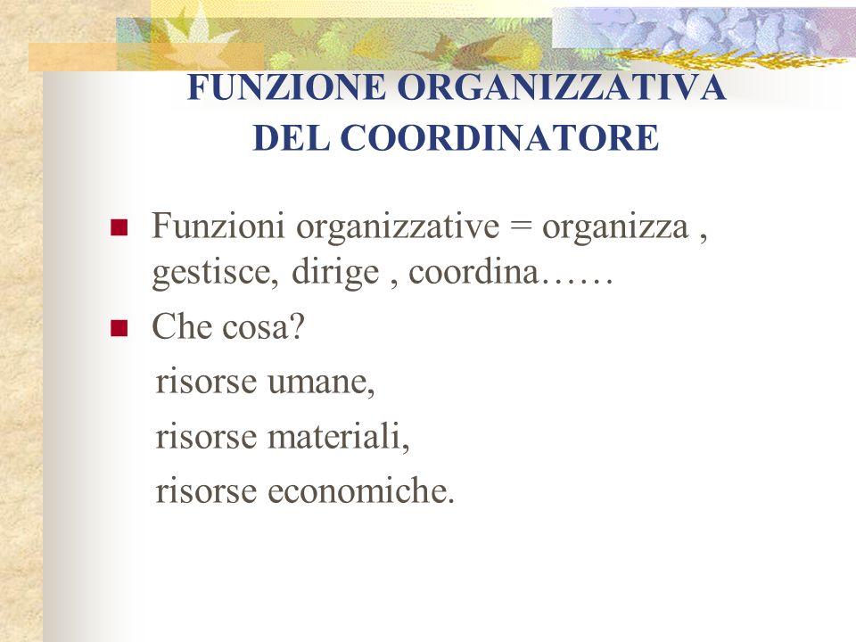 FUNZIONE ORGANIZZATIVA DEL COORDINATORE