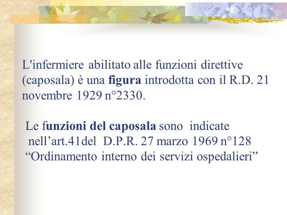 L infermiere abilitato alle funzioni direttive (caposala) è una figura introdotta con il R.D.