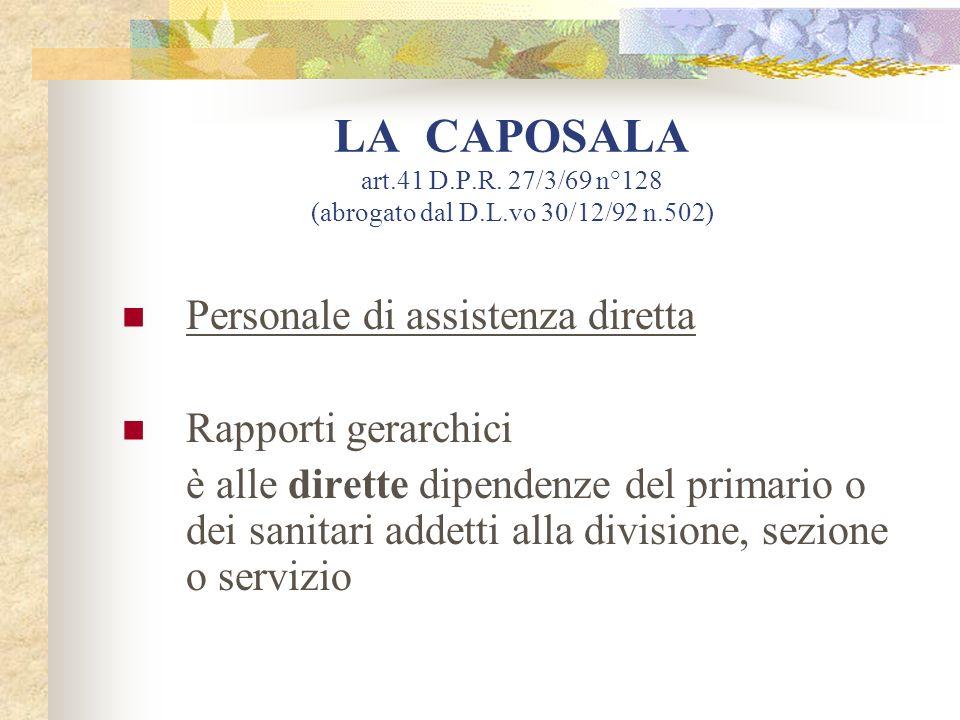 LA CAPOSALA art. 41 D. P. R. 27/3/69 n°128 (abrogato dal D. L