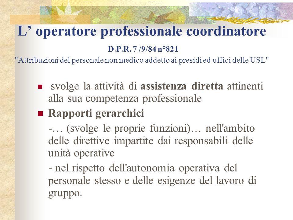 L' operatore professionale coordinatore D. P. R