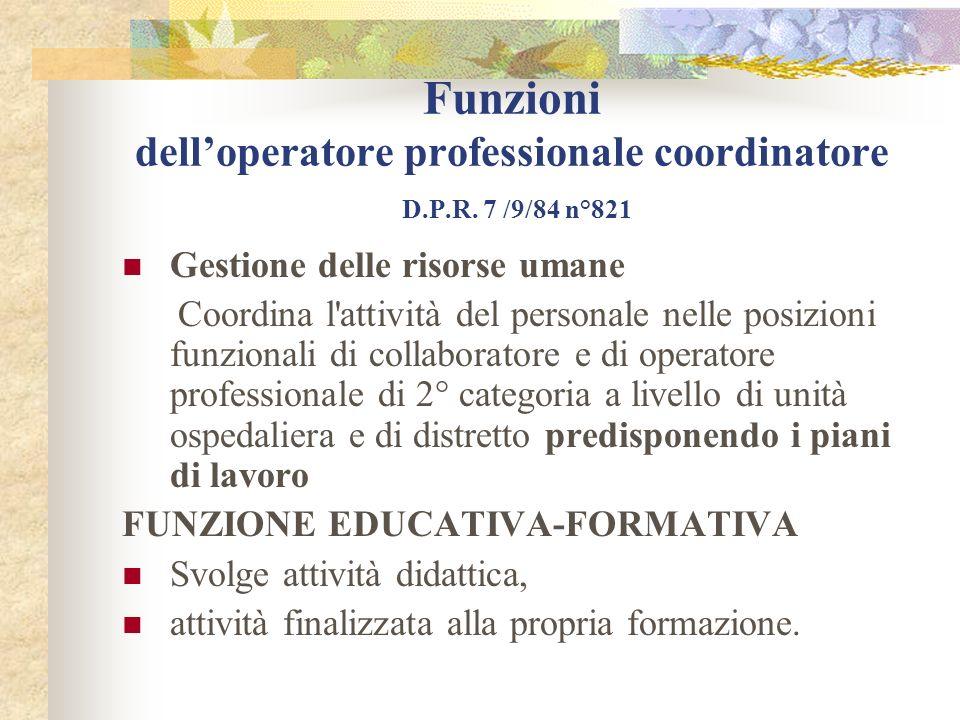 Funzioni dell'operatore professionale coordinatore D. P. R