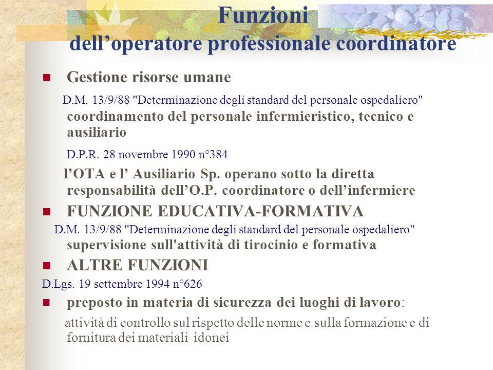 Funzioni dell'operatore professionale coordinatore