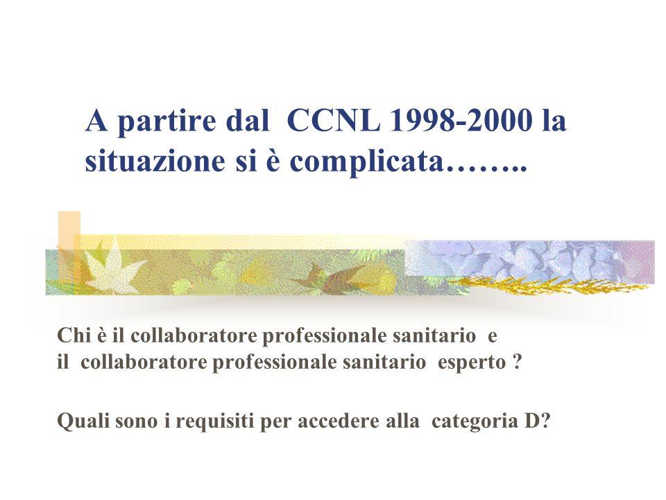 A partire dal CCNL 1998-2000 la situazione si è complicata……..