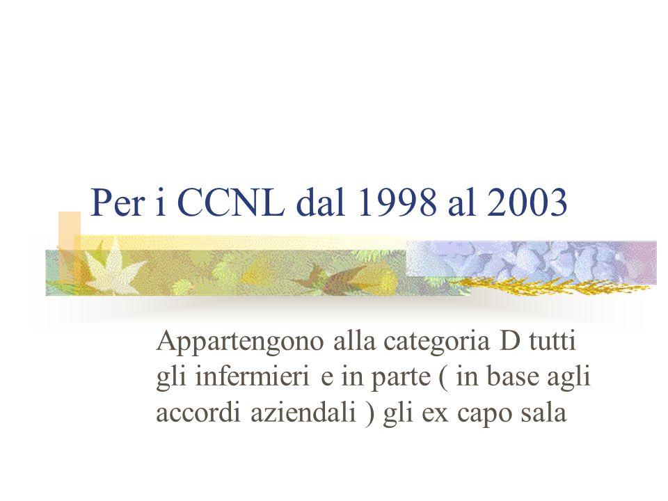 Per i CCNL dal 1998 al 2003Appartengono alla categoria D tutti gli infermieri e in parte ( in base agli accordi aziendali ) gli ex capo sala.