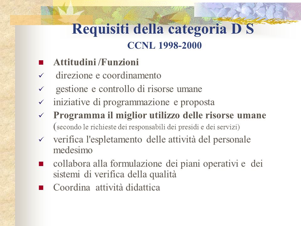 Requisiti della categoria D S CCNL 1998-2000