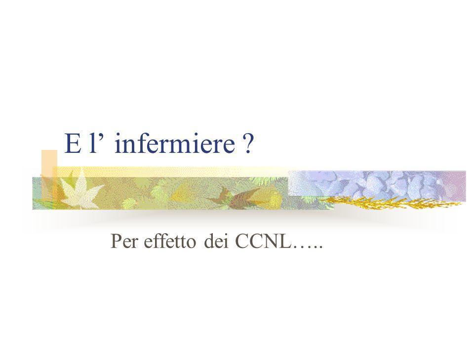 E l' infermiere Per effetto dei CCNL…..