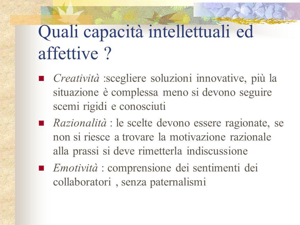 Quali capacità intellettuali ed affettive