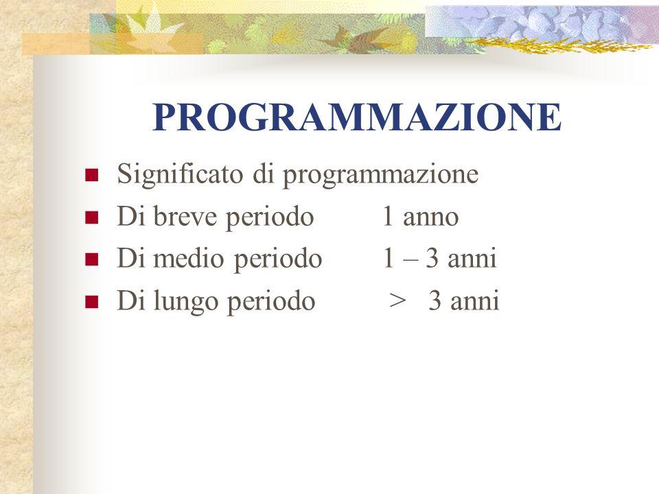 PROGRAMMAZIONE Significato di programmazione Di breve periodo 1 anno