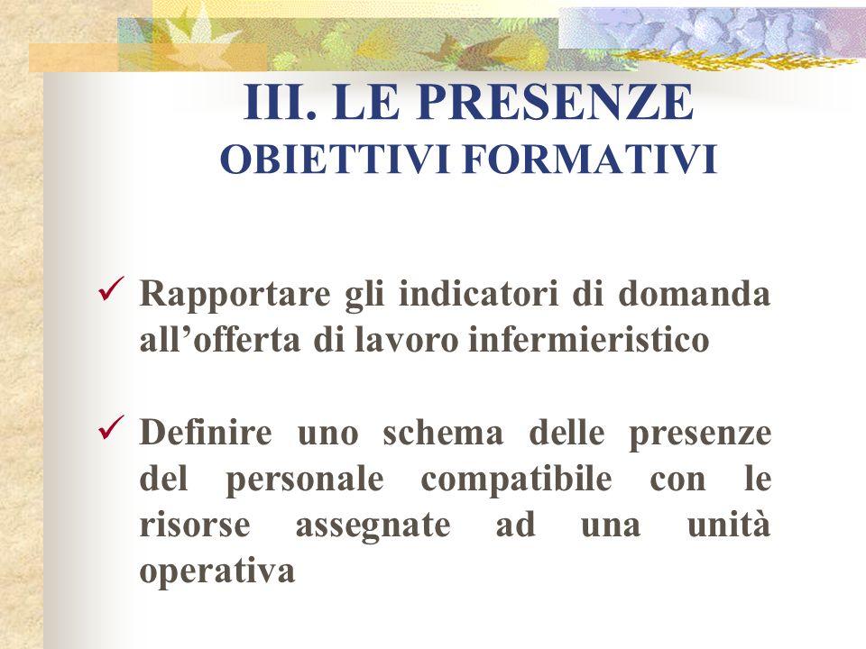 III. LE PRESENZE OBIETTIVI FORMATIVI