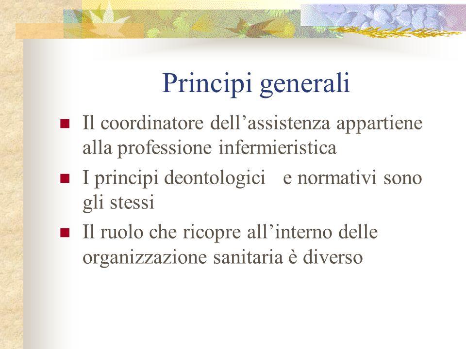 Principi generaliIl coordinatore dell'assistenza appartiene alla professione infermieristica. I principi deontologici e normativi sono gli stessi.