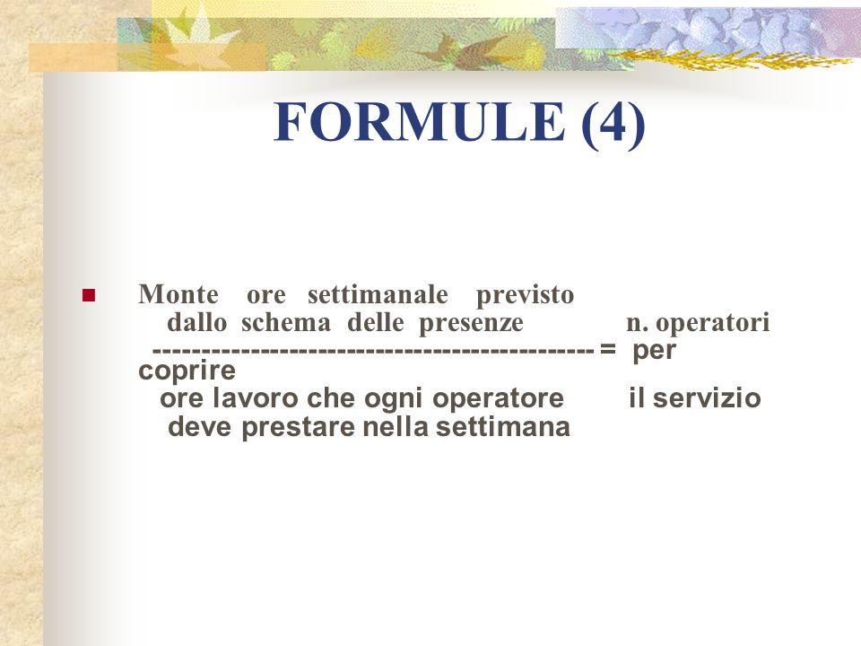 FORMULE (4) Monte ore settimanale previsto