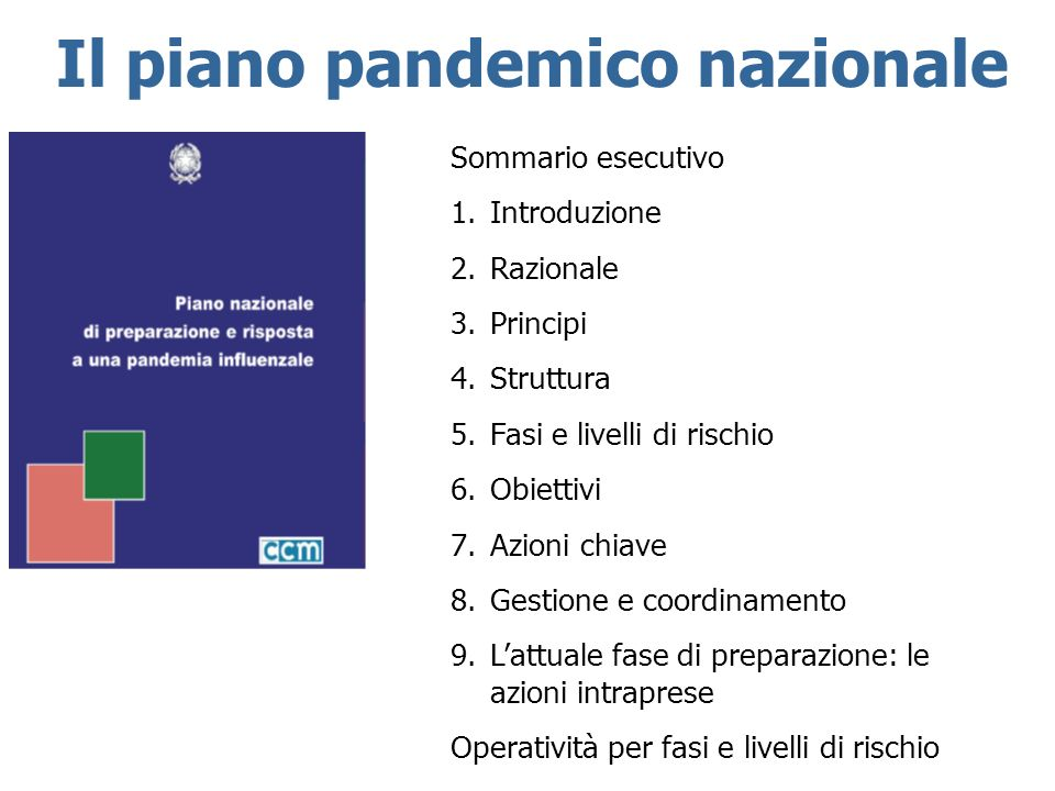 Il piano pandemico nazionale